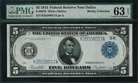 1914 $5 Federal Reserve Note Dallas FR-887b - PMG 63 EPQ -  Choice Uncirculated