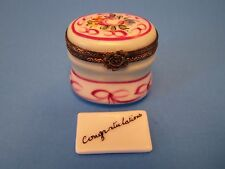 Oval Lt. Blue,Pk.Bow Congrad. Note authentic French Limoges Box ( New )