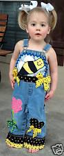 BOUTIQUE CUSTOM BUMBLE BEE OVERALLS APPLIQUE GIRLS 3