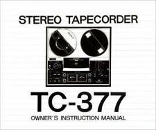 SONY TC-377, TC-630 OWNER AND SERVICE MANUALS ON CD-R