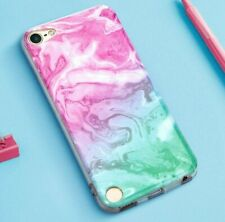 iPod Touch 5th 6th 7th Gen - Soft TPU Rubber Case Cover Pink Mint Green Marble