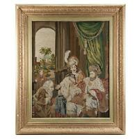 Antique Victorian Era Fine Needlepoint Tapestry in Elegant Frame, King & Throne
