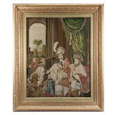 Antique Victorian Era Fine Needlepoint Tapestry in Elegant Frame, King & Throne