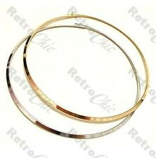THIN MIRRORED COLLAR NECKLACE shiny metal choker GOLD/SILVER PLATED circle 80s