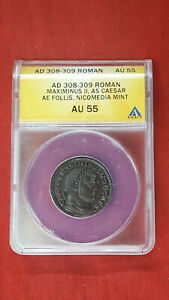 Coin - Ancient - Roman Empire - Maximinus II - AD 308 - 309 Roman AU 55