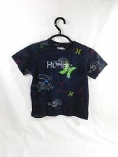 Hurley Tee Girls Size 7 Black Graphic T-Shirt with Embellishments