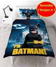 LEGO BATMAN MOVIE HERO SINGLE DUVET QUILT COVER SET BOYS KIDS CHILDRENS BEDROOM