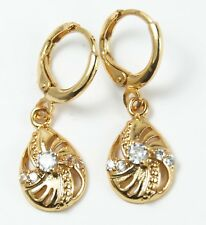 Women's 18 carat Gold Plated Clear Crystal Drop Dangle Huggie Earrings Jewellery