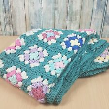 "Afghan granny square baby lap blanket throw crochet blue pink yellow 41""x 43"""