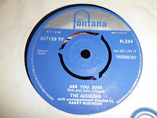 """THE ALLISONS """"Are You Sure """"  1961 EUROVISION  UK 7"""" FONTANA H 294"""