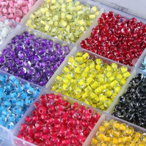 Czech 500Pcs 4mm Hole:2mm Round Colorful Glass Beads DIY Jewelry Making