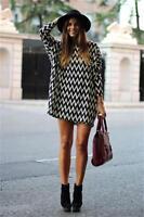 Sexy Women Ladies Black&White Stripe Printed Casual Short Loose Mini Dresses LG