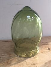 VINTAGE CLEAR GREEN GLASS BULLET SHADE