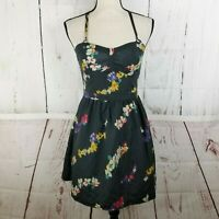 American Eagle Outfitters Dress Women's Sz 4 A-Line Gray Floral Sleeveless
