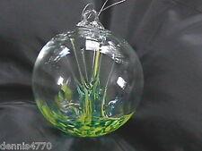 "Hanging Glass Ball 4"" Diameter Yellow & Aqua Tree Witch Ball (1) HB38-1"