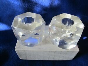 Mid-century Modern Superior Quality Hand Cut Crystal Candle Holder Set JAPAN