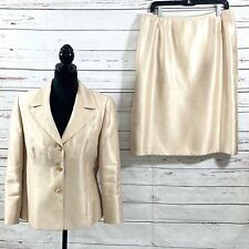 LE SUIT Women's 2PC Skirt Suit Champagne Blazer Buttons Shiny Retro Size 14