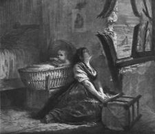 FAMILY. Un Coup De Canon, antique print, 1871