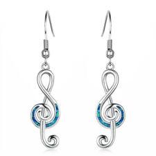 Musical note Blue Imitation Opal Inlay Silver Jewelry Dangle Drop Earrings