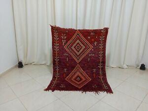 "Handmade Vintage Moroccan Rug 3'37""x 4'5"" Feet Berber Moroccan Boujad Square Rug"