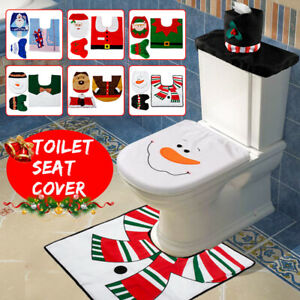 Santa Toilet Seat Cover Rug Bathroom Set Decoration Christmas Xmas Home Decor