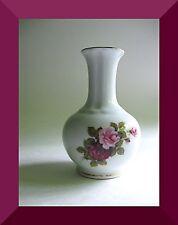 "Royal Tri Ever Porcelain White 6 3/4"" Vase Gold Trim Rose Flowers"