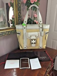 New Coach Legacy Bag Tote Vintage Natural Straw White Leather L05K-113  B2D