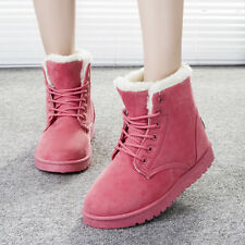 Womens Winter Warm Casual Faux Suede Fur Lace-up Ankle Boots Snow Boots Shoes