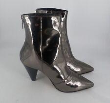 River Island Battle Cone Heel Silver Boot UK 4 EU 37 JS50 20