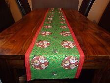"""Christmas, festive  homemade  Santa  baubles  design  table  runner 12""""  x  76"""""""