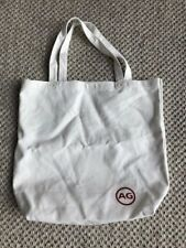 """Ivory Canvas Tote Bag With Red AG Jeans Logo 17"""" x 15 1/2"""" 5"""" deep"""