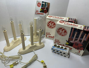 Lot GE Candolier Cool Bright Indoor White 3 And 1 Bulbs Christmas Tested Working