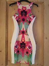 Lipsy Floral Mirror Bodycon White Dress - Size 6