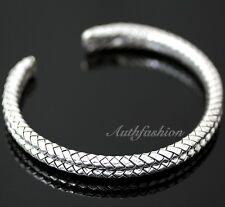Mens Sterling Silver Bracelet Braided Bangle Handcrafted Hip Hop Beachwear b11