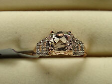 Rare Mawi Kunzite & Natural Zircon Solid 10K Rose Gold Ring Size R-S/9 RRP £359