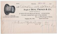 RARE Advertising Billhead 1902 Benjamin French Boston Photographer Camera Lens