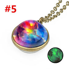 Glow in the Dark Galaxy System Double Sided Glass Dome Planet Choker Necklace