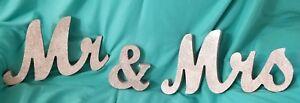 SENOVER MR & MRS SILVER GLITTER TABLE WALL PLAQUE BRIDAL WEDDING ANNIVERSARY NEW