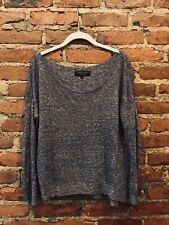 Rag & Bone Wide Neck Gray Malange Marled Speckle Linen Blend Light Sweater XS