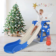 Extra Long Folding Kids Slide Toddler Playground Climber Toy Indoor Outdoor Blue