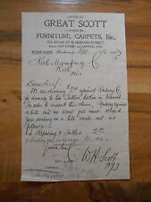 Antique 1903 Great Scott Furniture Carpets Etc Baltimore Maryland Paper Letter