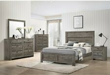 Contemporary Bedroom Furniture Set Brown Finish King/Queen Size Bed Wooden Wood