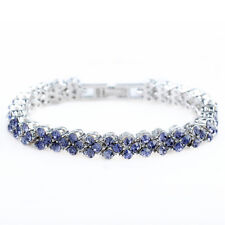 Lady Rhinestone Purple Amethyst Zirconia 18K White Gold Plated Tennis Bracelet