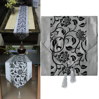 Tischband Tischdecke Läufer Silbergrau Tischdekor Quaste Tischläufer De NQQ