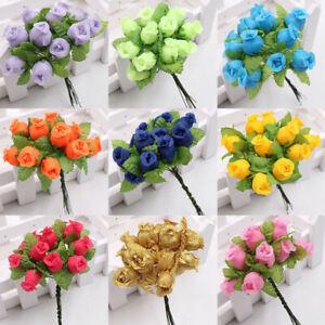 12 Heads Crafts Silk Fake Rose Artificial Flower DIY Garden Bouquet Home Dec ca