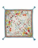 JOHNNY WAS Asiana White FLOWER SCARF silk tassle multi NEW Floral Tassle New