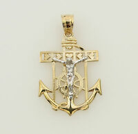 14K Solid Real 2 Tone Yellow Gold Small Jesus Crucifix Anchor Religious Pendant