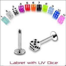 Labret Monroe Bars 5 UV Dice Barbells Rook Snug Helix Piercing 16g