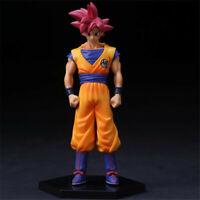15cm Dragon Ball Z Super Saiyan Red hair Son Goku Actioin Figure stands PVC Doll