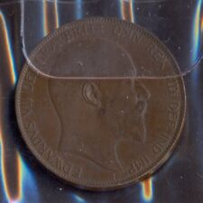 """Great Britain, 1907, Used one penny cooper coin """"Edwardus VII"""" in very good cond"""